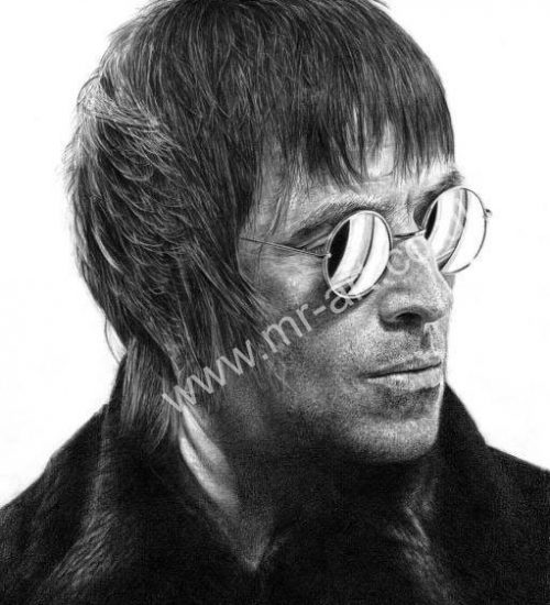 Liam Gallagher picture in pencil