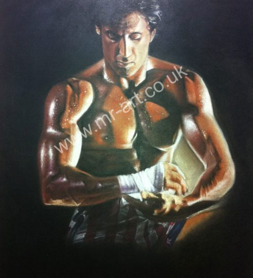 Portrait of Rocky Balboa, captured in pastel