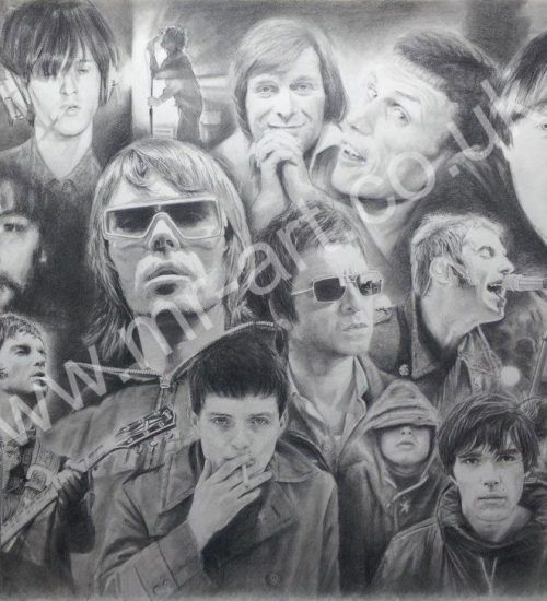 Montage of Manchester Music legends captured in pencil