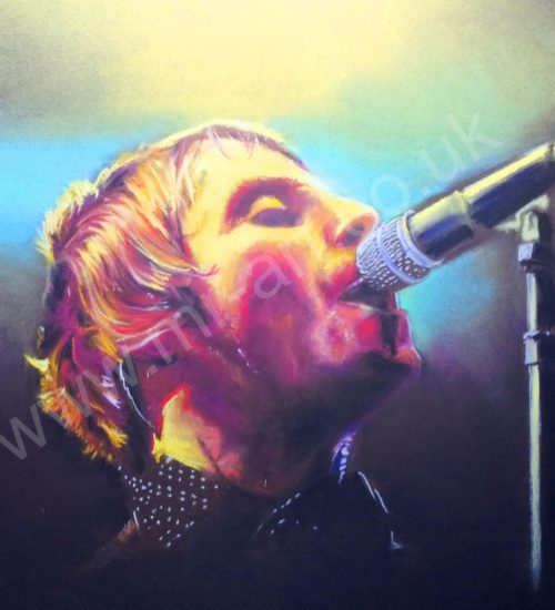 Portrait of Liam Gallagher captured in pastel