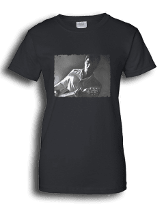 Ladies black T-shirt featuring Noel Gallagher playing guitar.