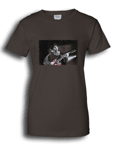 Ladies chocolate T-shirt featuring Noel Gallagher playing guitar.