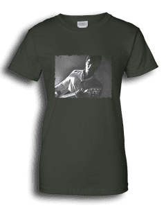 Ladies forest green T-shirt featuring Noel Gallagher playing guitar.
