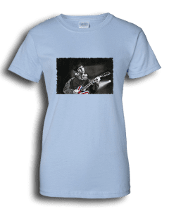 Ladies light blue T-shirt featuring Noel Gallagher playing guitar.