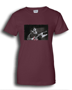 Ladies maroon T-shirt featuring Noel Gallagher playing guitar.