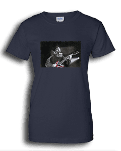 Ladies navy T-shirt featuring Noel Gallagher playing guitar.
