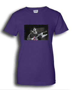 Ladies purple T-shirt featuring Noel Gallagher playing guitar.