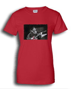 Ladies red T-shirt featuring Noel Gallagher playing guitar.