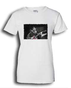 Ladies white T-shirt featuring Noel Gallagher playing guitar.