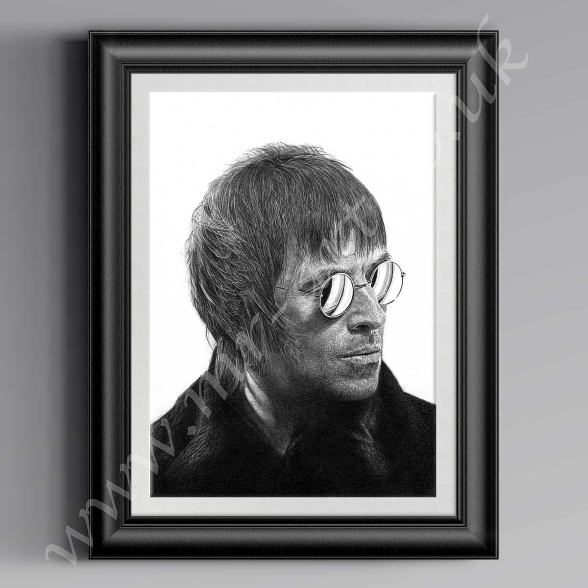 Liam Gallagher limited edition Picture,drawing in pencil by MR-Art.co.uk