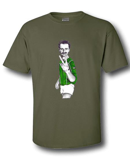 Art-Wear T-Shirt featuring cartoon Begbie inspired by the film Trainspotting