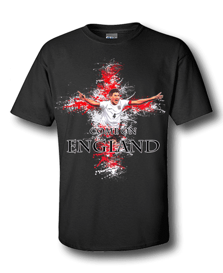 Steven Gerrard England T-Shirt featuring a cartoon design of Gerrard with a St George's cross background splash.