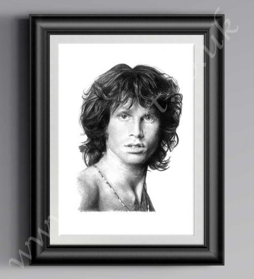 Jim Morrison print, reproduced from original A2 pencil drawing by Mark Reynolds