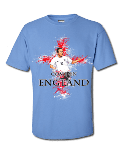 Wayne Rooney England T-Shirt featuring a cartoon design of Gerrard with a St George's cross background splash.