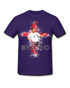 ne Rooney England T-Shirt featuring a cartoon design of Gerrard with a St George's cross background splash.