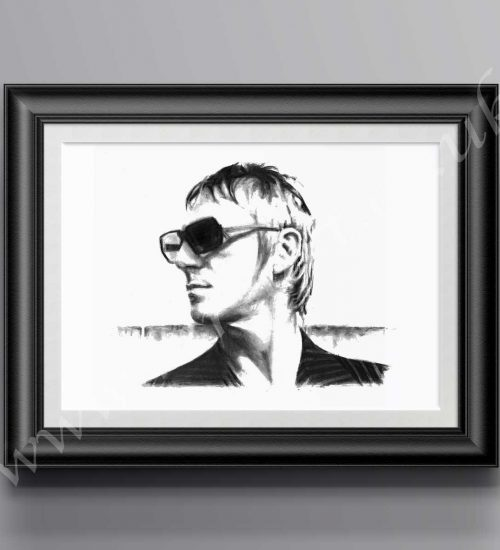 Paul Weller pencil drawing by Mark Reynolds