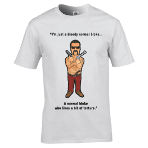 Chopper Read T-Shirt featuring hand drawn cartoon image by Mark Reynolds This Chopper Read T-Shirt is available in a wide range of colours and sizes and is printed using the newest direct to garment printing methods.