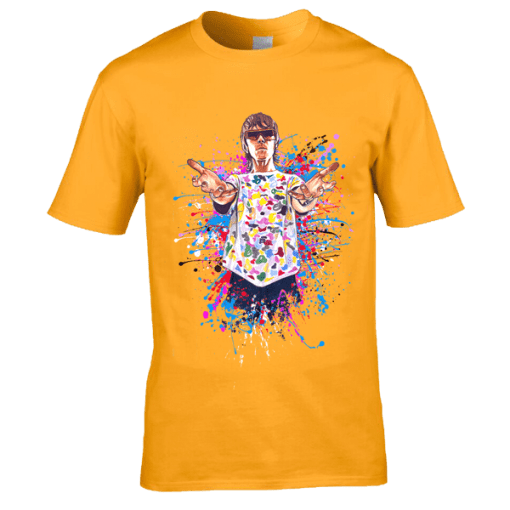 Ian Brown God Like Genius T-Shirt featuring a cartoon design of Ian Brown from an original drawing by Mark Reynolds.