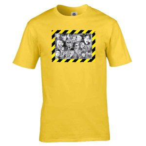 Bespoke Manchester Music Legends ART-WEAR T-Shirt designed and drawn by artist Mark Reynolds. Available in a wide range of colours and sizes.