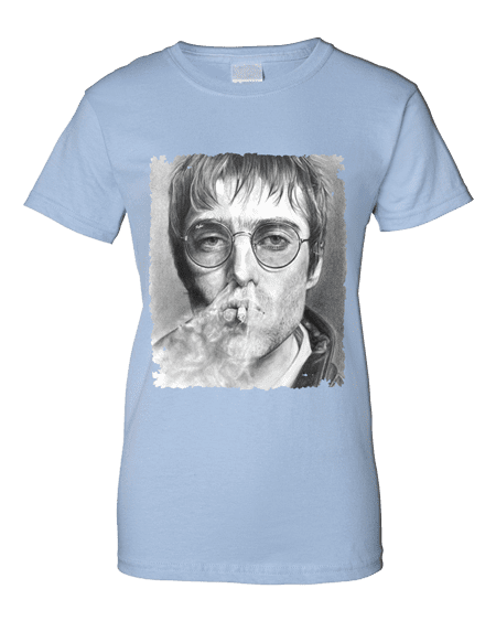 Liam Gallagher Smoking T-Shirt featuring a pencil drawing by Mark Reynolds.