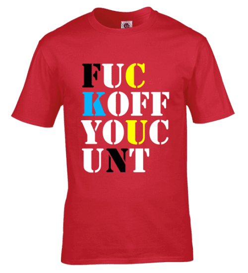 "Stone Roses T-Shirt as seen on Mani from The Stone Roses featuring the words "" F**K OFF YOU C**T"""