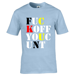 """Stone Roses T-Shirt as seen on Mani from The Stone Roses featuring the words """" F**K OFF YOU C**T"""""""