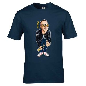 Exclusive Spud T-Shirt inspired by the film Train Spotting and designed by artist Mark Reynolds. This T-Shirt features a hand drawn cartoon image of Spud wearing a black Fila four stripe jacket, holding a bottle of Buckfast Tonic Wine and sporting a pair of white Adidas Hamburgs.