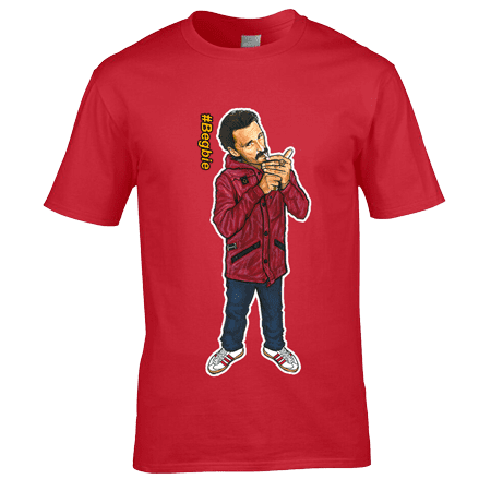 Bespoke Begbie T-Shirt inspired by the film Trainspotting and designed by artist Mark Reynolds.