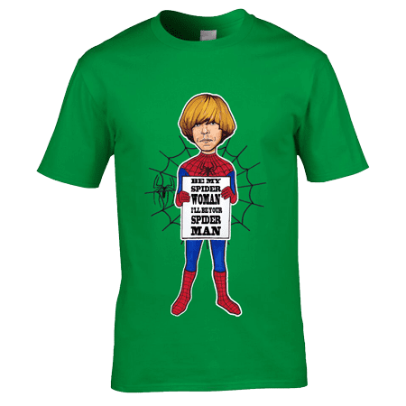 "Bespoke Tim Burgess Spider Man T-Shirt designed by artist Mark Reynolds. This Tim Burgess T-Shirt is inspired by the lyrics ""Be My Spider Woman, I'll Be Your Spider Man"" from the song One To Another. This T-Shirt is available in a wide range of colours and sizes."