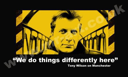 """Bespoke Tony Wilson print drawn in pencil by artist Mark Reynolds. The print features a portrait of Tony Wilson and the quote """"We do things differently here""""."""