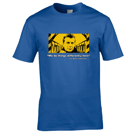 "Bespoke Tony Wilson T-Shirt designed by artist Mark Reynolds. The T-Shirts features a portrait of Tony Wilson and the quote ""We do things differently here"". This T-Shirt is available in a wide range of colours and sizes."