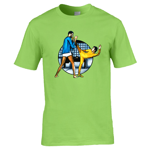 Bruce Lee Game Of Death T-Shirt featuring artwork by Mark Reynolds. This T-Shirt is exclusive to Mr Art in a range of colours and sizes