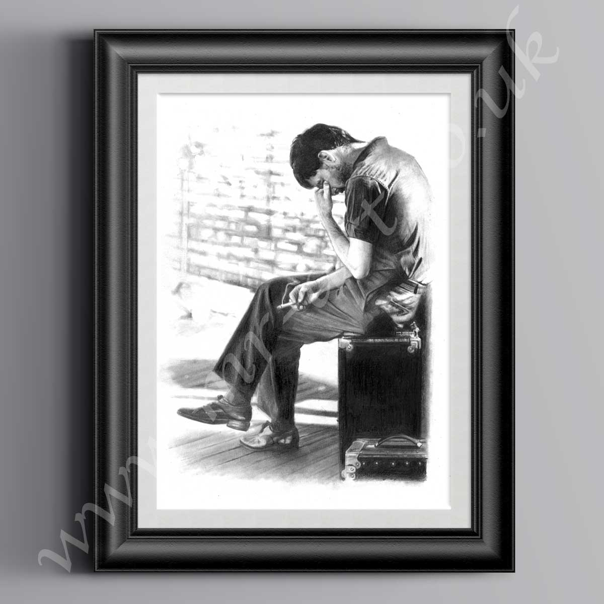 This Ian Curtis Isolation Print has originally been drawn in pencil by Mark Reynolds.