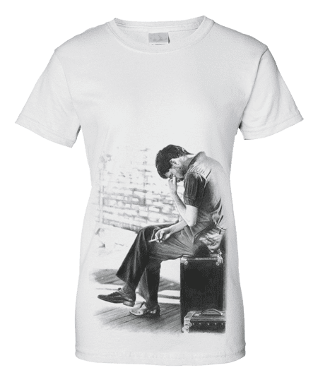 This Ian Curtis Isolation T-shirt has been drawn in pencil by Mark Reynolds.