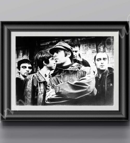 This Oasis Print has originally been drawn in pencil by Mark Reynolds.