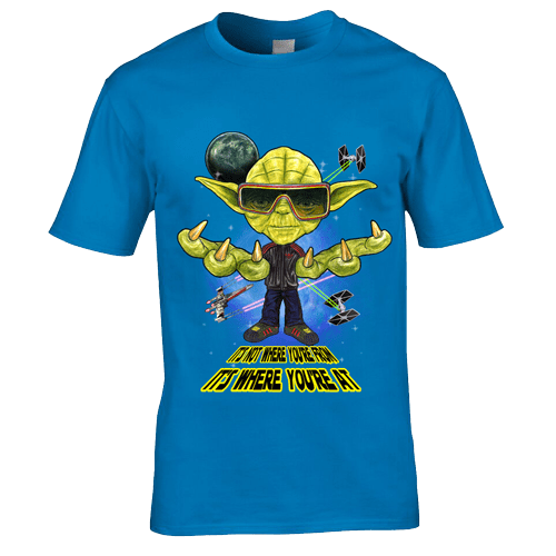"""This Yoda- Ian Brown Inspired T-Shirt has been designed by Mark Reynolds. It is a twist between Yoda from Star Wars and Ian Brown from the Stone Roses. The T-Shirt also features Ian's famous quote """" It's Not Where You're From, It's Where You're At""""."""