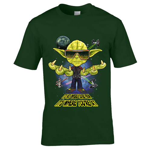 "This Yoda- Ian Brown Inspired T-Shirt has been designed by Mark Reynolds. It is a twist between Yoda from Star Wars and Ian Brown from the Stone Roses. The T-Shirt also features Ian's famous quote "" It's Not Where You're From, It's Where You're At""."