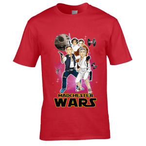 Star Wars T-Shirt featuring Happy Mondays Bez, Shaun, Paul and Rowetta from an original drawing by Mark Reynolds.