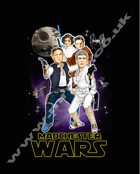 Star Wars design featuring Happy Mondays Bez, Shaun, Paul and Rowetta from an original drawing by Mark Reynolds.