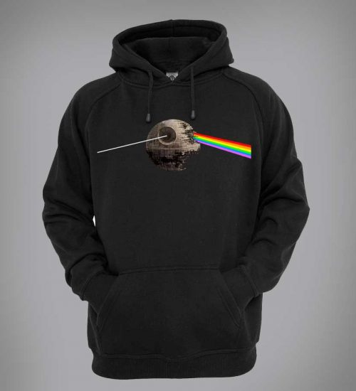 This exclusive Pink Floyd Hoodie takes a twist on The Dark Side Of The Moon's original album design which depicts a glass prism dispersing light into colour and the Death Star from Star Wars.