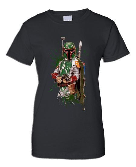 This Star Wars Boba Fett T-Shirt has been drawn in coloured pencil by Mark Reynolds.