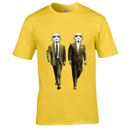 This exclusive Kray Twins/ Storm Trooper T-Shirt is a drawing of Ronnie and Reggie Kray, however in place of their faces is a Storm Trooper hemet