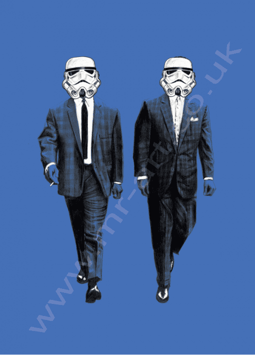 This exclusive Kray Twins/ Storm Trooper design is a drawing of Ronnie and Reggie Kray, however in place of their faces is a Storm Trooper hemet