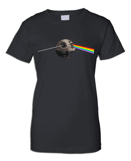 This exclusive Pink Floyd T-Shirt takes a twist on The Dark Side Of The Moon's original album design which depicts a glass prism dispersing light into colour and the Death Star from Star Wars.