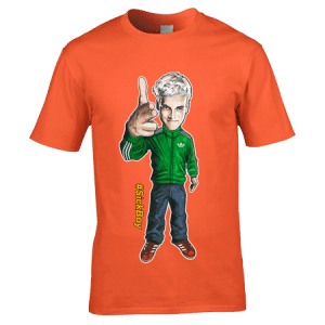Exclusive Sick Boy Trainspotting T-Shirt inspired by the film Train Spotting and designed by artist Mark Reynolds. This T-Shirt features a hand drawn cartoon image of Sick Boy wearing a green Adidas tracksuit top sporting a pair of red Adidas trainers.