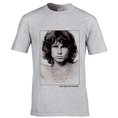 Bespoke Jim Morrison MR MOJO RISIN T-Shirt by artist Mark Reynolds. This image was originally an A0 pencil drawing and has now been reproduced onto T-Shirts with the words MR MOJO RISIN underneath the image.