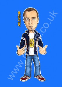 Exclusive Renton Trainspotting design inspired by the film Trainspotting and designed by artist Mark Reynolds.