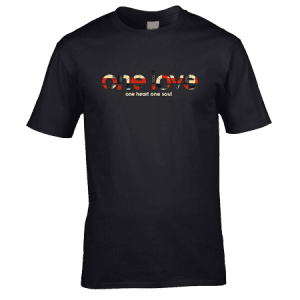 Exclusive The Stone Roses One Love T-Shirt with red metallic finish designed by artist Mark Reynolds. Available in a range of colour and sizes.