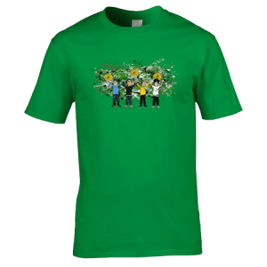 This Exclusive The Stone Roses All For One T-Shirt features hand drawn cartoon images of Ian Brown, Mani, Reni and John Squire joining hands at the end of a concert.