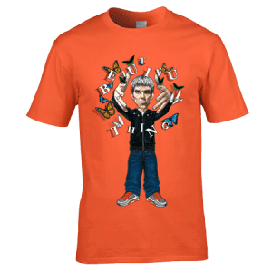 This Exclusive The Stone Roses Beautiful Thing T-Shirt features a hand drawn cartoon image of Ian Brown along with butterflies and the song title Beautiful Thing.